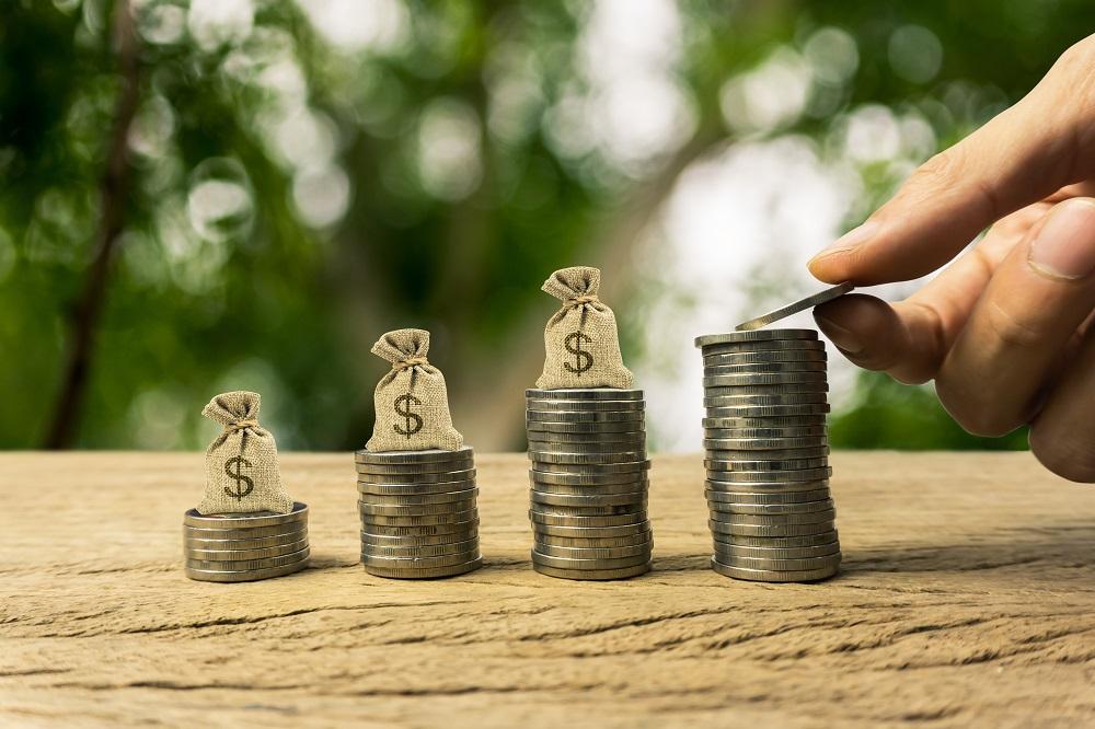 pilha de moedas crescente