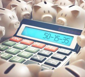 calculadora mostrando a regra do 50-15-35