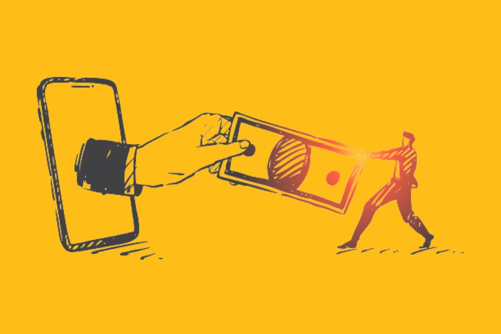 desenho de mão saindo de uma tela de celular e estendendo uma nota de dinheiro para um homem
