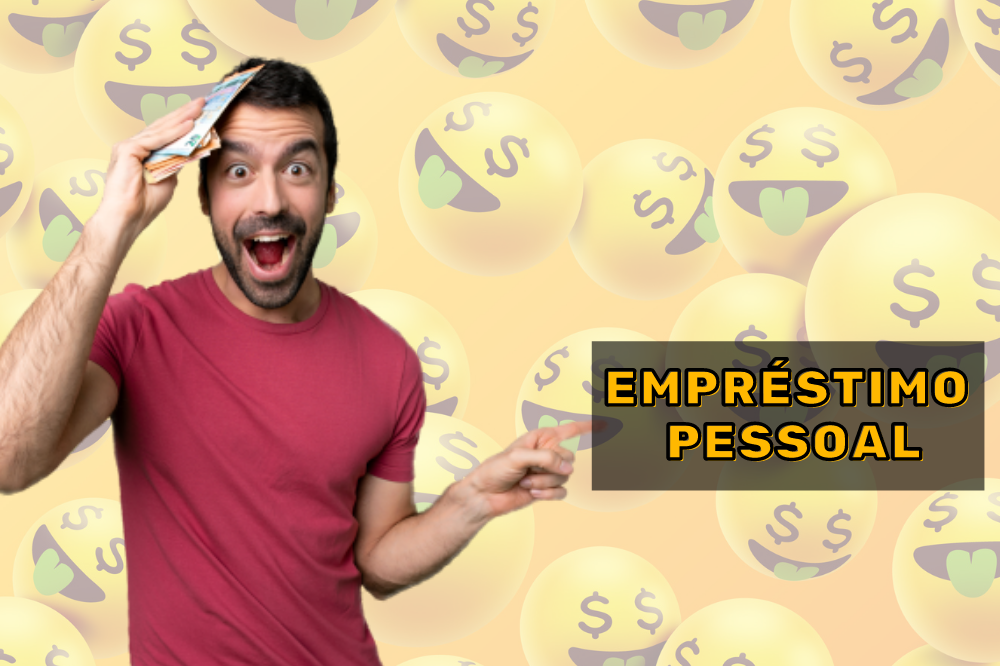 """Homem segurando dinheiro e indicando a frase na imagem: """"empréstimo pessoal"""""""