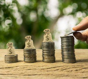 Aumento do valor do tempo do dinheiro, investimento, conceito financeiro de riqueza