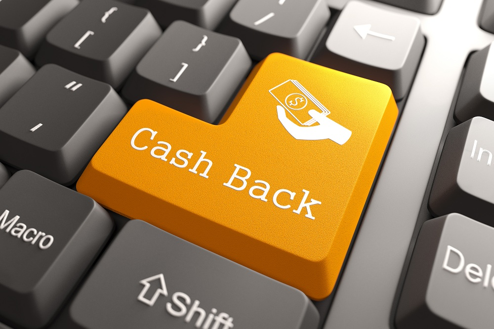 imagem de um teclado de computador e no botão do enter escrito cashback