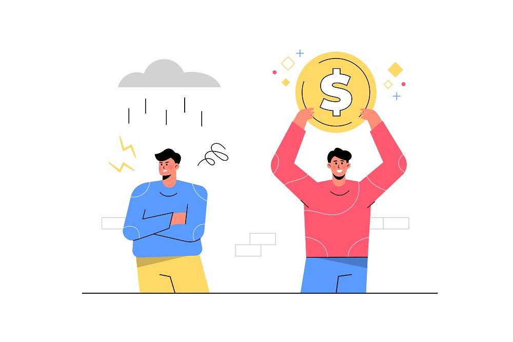 Homem bem sucedido segurando dinheiro ao lado do homem malsucedido com tempestade de chuva