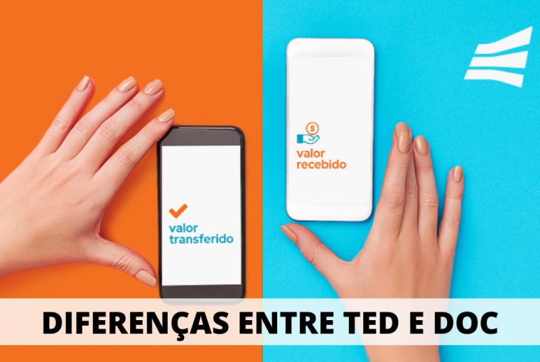 mão segurando dois celulares, um escrito valor transferido e outro valor recebido com a frase acima diferença entre TED e DOC