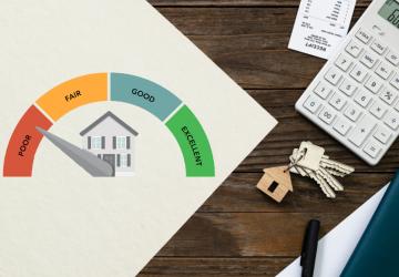 Financiamento de papel imobiliário e conceito de orçamento simbolizando o score de crédito para financiamento