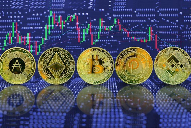 Coleção de criptomoedas de moedas de ouro no plano de fundo do gráfico de negociação do computador